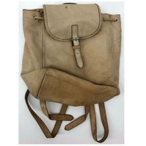 J Crew Leather Backpack Cream Adjustable Straps